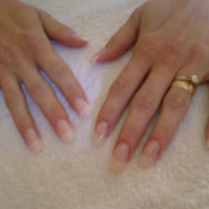Clear Gel on Tips, Pearly top coat.
