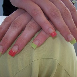 Coloured acrylic by one of the girls in my salon one of the first attemps