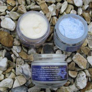 MARIGOLD MOISTURISER, BLUE JOJOBA GRAINS SCRUB AND PLANT COLLAGEN NIGHT CREAM