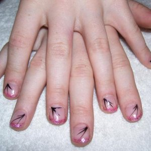 These I did on my 7 year old daughter.  She wanted 'nails like mummy' and was very disappointed when I told her I would not put acrylic on her!  We came to a compromise and I gave her the pink glitter tips she wanted and she then asked me for some flicks too.