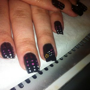 Ombre effect dots With shooting star on ring finger.
