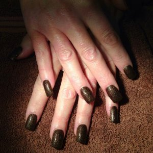 CND pink Acrylic tips with a Jessica sands polish
