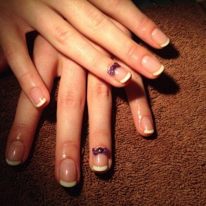 Jessica Geleration French with some bows i made from purple acrylic