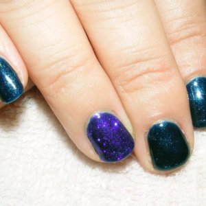 Midnight Swim with Periwinkle Twinkle Additive over feature nail