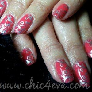 Shellac lobster roll silver scroll nails