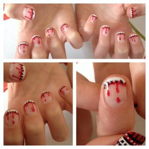 Stitched-Up French for Halloween 2013 using Gel Polish