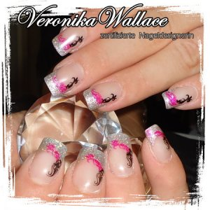 Natural Nail Overlay with Duo Color Stamping
