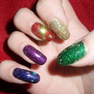 5 different bio glitters with bio irreidescent hex