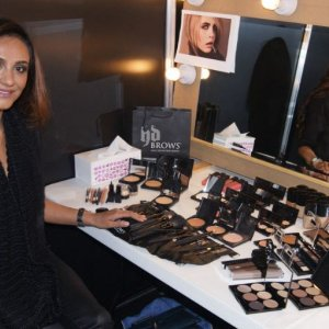 Founder of HD Brows Nilam Patel - Backstage with the new HD Brows Make Up collection at the Clothes Show Live 2013 x