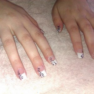 White Tips with Leopard Print Art