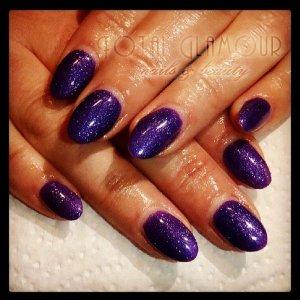 Acrylics with purple glitter gel polish