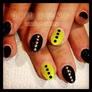 Acrylics with black, neon yellow, studs and black crystals