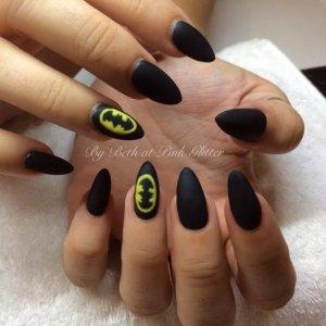 Matte Black with hand painted Batman logo
