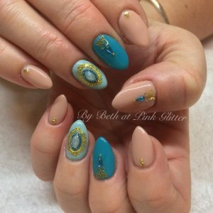 My own nails in turquoise and gold