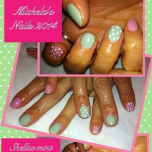 Shellac mint convertible and blush teddy with cp dots