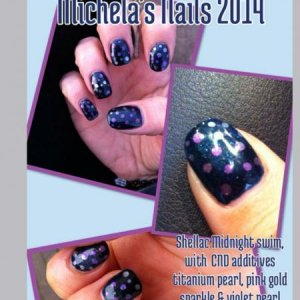 Shellac midnight swim with CND additives ..titanium pearl, violet pearl, & pink gold sparkle. Dots.