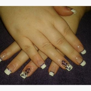 Gel extensions with nail art.