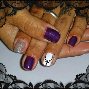 Shellac w/ hand painted design.