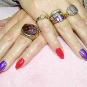 Shellac over natural acrylic sculpts - Wildfire and Purple Purple with gold studs