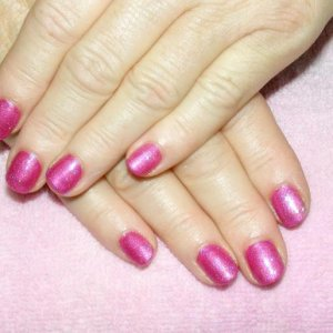 Shellac in Sultry Sunset with a custom glitter mix of Raspberry Sizzle and Hot Pink