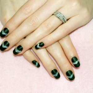 Matte Shellac in Blackpool with shiny silver chevrons