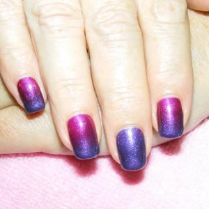 """Fade Shellac in the """"Tango Passion"""" with """"Amethyst Flash"""" fade (full pigment on feature nails)."""