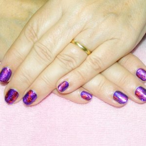 """Foiled Shellac with red and purple foils over """"Rock Royalty"""" and a touch of """"Periwinkle"""" twinkle additive"""