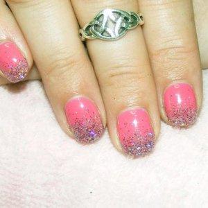 Pink Bikini Shellac with custom glitter mix fade.