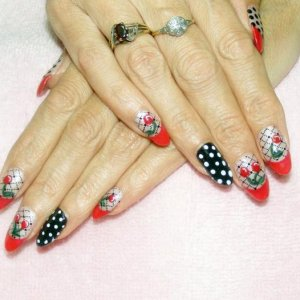 Rockabilly Shellac in Wildfire and Powder my Nose with handpainted cherries and polka dots.