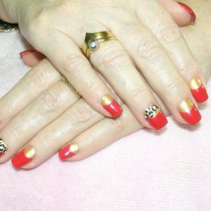 Vintage Shellac in Wildfire and Gilded gleam additive moon with hand painted leopard features.