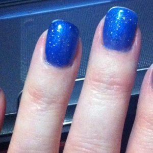Blue Gel Polish with Glitter Topcoat