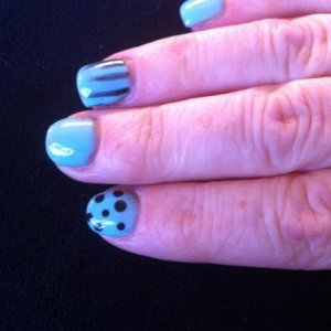 Aztec Blue Gelicious with stripes & dots