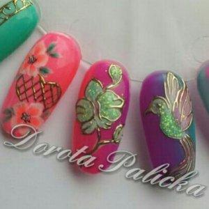 #dorota palicka #jewellerynailart #transferfoil #goldfoilnails
