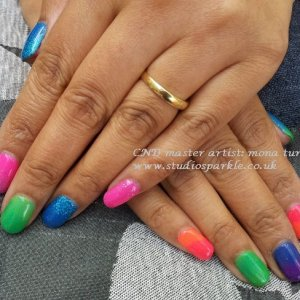 CND Shellac with neon glitter