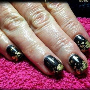 CND Shellac Black Onyx and gold leaf