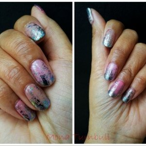 CND Shellac various pinks with silver foil
