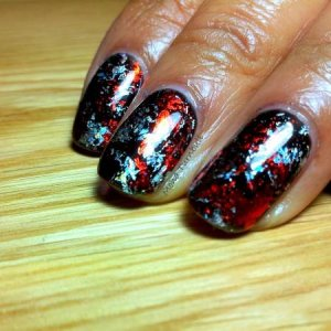 CND Shellac Black Pool with foil
