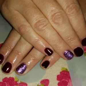 Gellux black tulip with 2 try stamp polish
