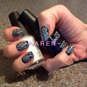 Bio Sculpture clear overlay, Midnight Swim and Cream Puff Vinylux with filigree style stamping.