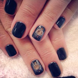 imageShellac Black Pool with accents using jumps rings, glitter and additives