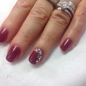 Shellac with swarovski crystal ellements
