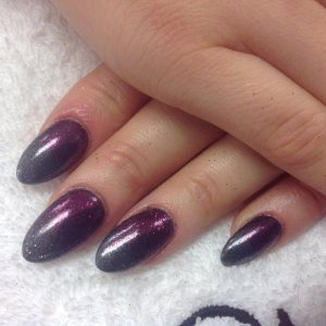 Shellac and Lecente glitters over enhancements