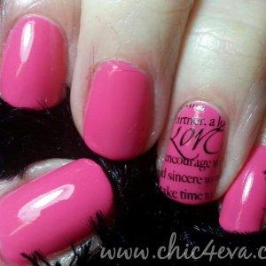 pink bikini shellac valentine words nails