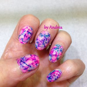 Shellac With Pink Blue And Mauve Marbling Sg)