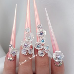 3d roses and white and pink ombre stiletto
