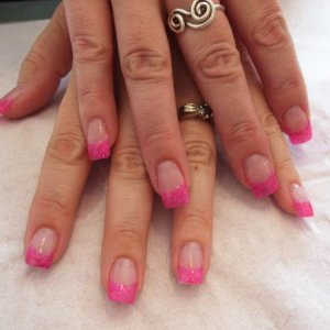 my pink glitter tips