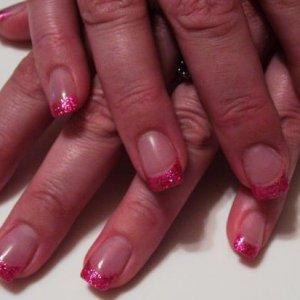 my pink glitter tips september 08