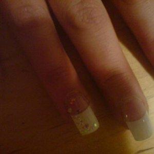 tips , just enough glitter on ring finger.