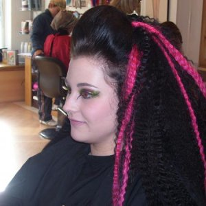 A girl in the salon being 'done'.  She and her mate were off to Westfest