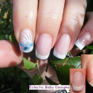 EZ Flow mix of Tourmaline & Gold to extend nail beds, Silver Screen for tips, capped off in pink.  Over glass tips.